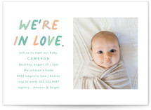 This is a green baby shower invitation by Louise Kay called We're In Love with standard printing on signature in standard.