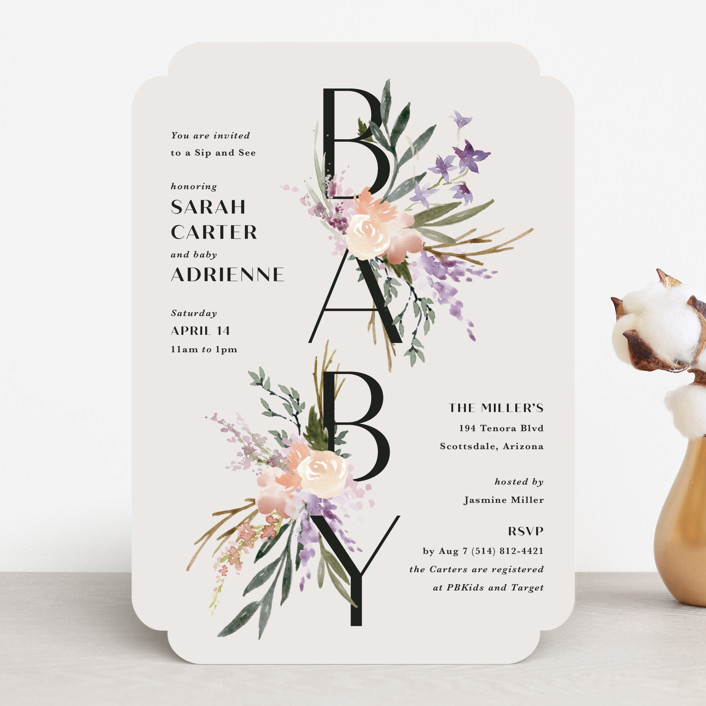 """""""Stacked Bouquets"""" - Baby Shower Invitations in Amethyst by Kate Ahn."""