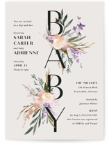 This is a purple baby shower invitation by Kate Ahn called Stacked Bouquets with standard printing on signature in standard.