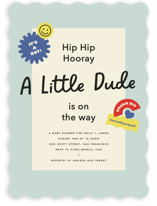 This is a blue baby shower invitation by Annie Clark called Stuck on You Dude with standard printing on signature in standard.