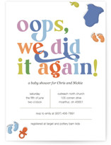 This is a colorful baby shower invitation by Emily Conley called Oops, we did it again with standard printing on signature in standard.