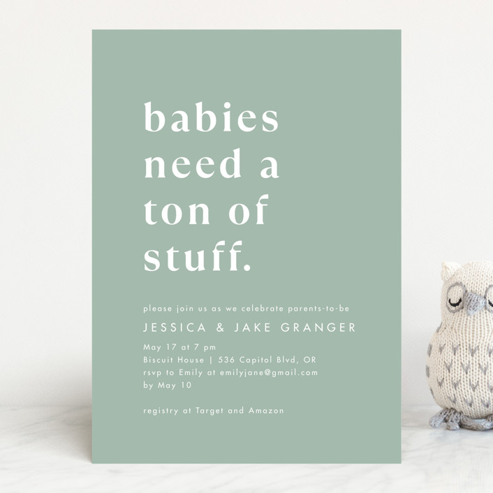 """""""Ton of Stuff"""" - Funny Baby Shower Invitations in Sage by Amy Payne."""