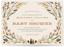 This is a brown baby shower invitation by Kate Ahn called woodland watercolor with standard printing on signature in standard.