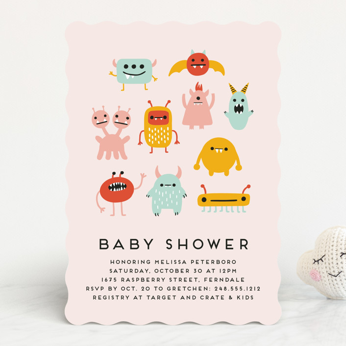 """""""Monsters"""" - Whimsical & Funny Baby Shower Invitations in Bubblegum by Genna Blackburn."""