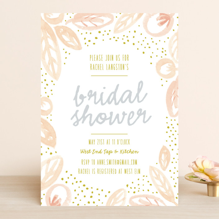 """""""Lakeside Floral"""" - Floral & Botanical Bridal Shower Invitations in Lake by Frooted Design."""