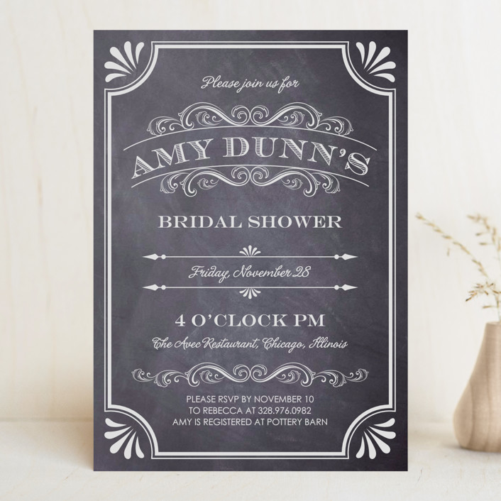 """A Chalkboard Marriage"" - Rustic, Vintage Bridal Shower Invitations in Chalkboard by Erin Deegan."