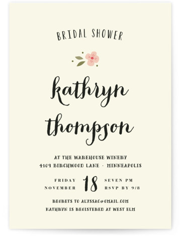 This is a portrait floral, simple, pink Bridal Shower Invitations by Susan Brown called Beginning with Standard printing on Signature in Classic Flat Card format. Our unique bridal shower designs are fully customizable, sourced from independent designers and printed on ...