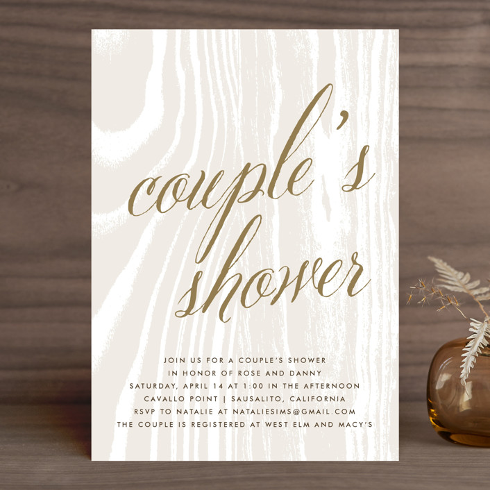 """Big Sur"" - Rustic, Bohemian Bridal Shower Invitations in Weathered Oak by annie clark."