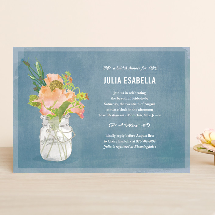 """Bouquet D'Amour"" - Rustic Bridal Shower Invitations in Pacific Jade by Beth Ann."