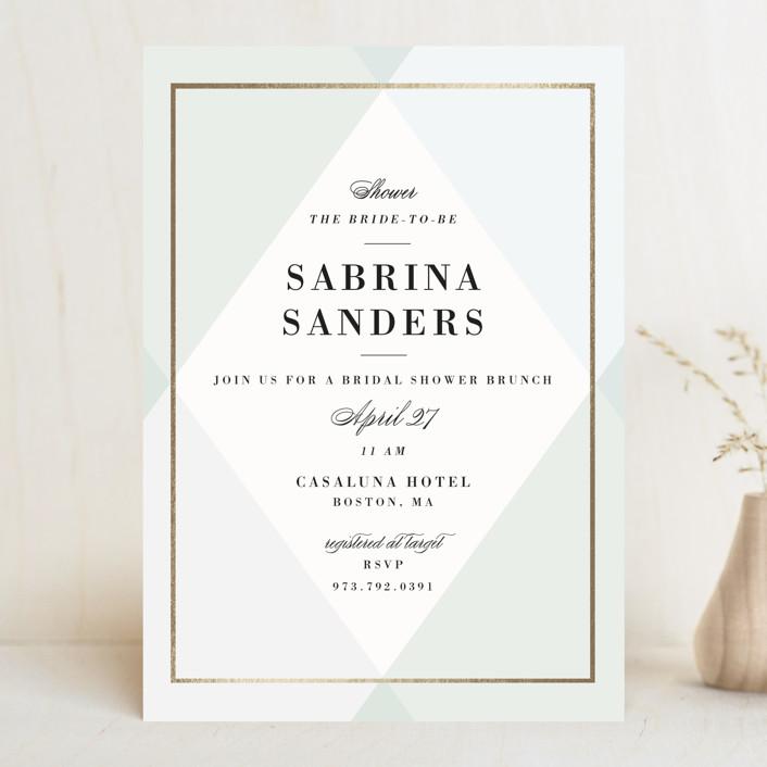 """Creme Brulee"" - Elegant Bridal Shower Invitations in Mint by chocomocacino."