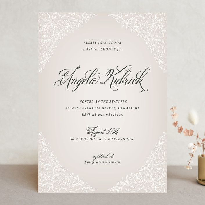 """Elegant Lace"" - Vintage Bridal Shower Invitations in Blush by Hooray Creative."