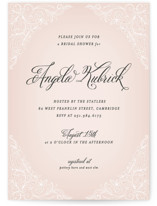 This is a pink bridal shower invitation by Hooray Creative called Elegant Lace with standard printing on signature in standard.