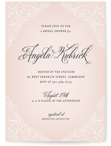 This is a portrait vintage, pink Bridal Shower Invitations by Hooray Creative called Elegant Lace with Standard printing on Signature in Classic Flat Card format. Our unique bridal shower designs are fully customizable, sourced from independent designers and printed on ...