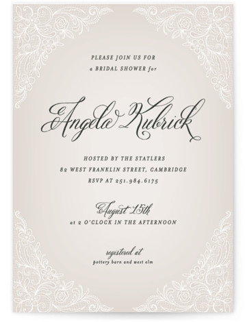 This is a portrait vintage, brown Bridal Shower Invitations by Hooray Creative called Elegant Lace with Standard printing on Signature in Classic Flat Card format. Our unique bridal shower designs are fully customizable, sourced from independent designers and printed on ...