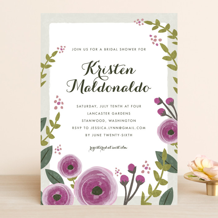 """English Floral Garden"" - Bridal Shower Invitations in Peony by Karidy Walker."