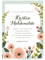 This is a pink bridal shower invitation by Karidy Walker called English Floral Garden with standard printing on signature in standard.