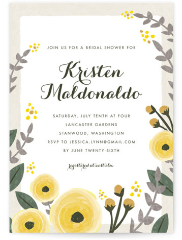 This is a portrait botanical, yellow Bridal Shower Invitations by Karidy Walker called English Floral Garden with Standard printing on Signature in Classic Flat Card format. Our unique bridal shower designs are fully customizable, sourced from independent designers and printed ...