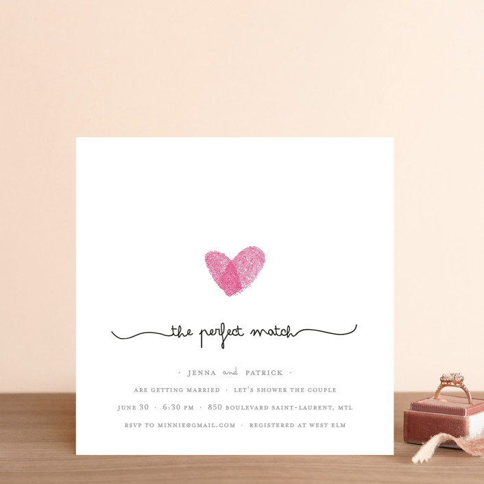 """Fingerprint Heart"" - Modern, Whimsical & Funny Bridal Shower Invitations in Pearl by Angelene."