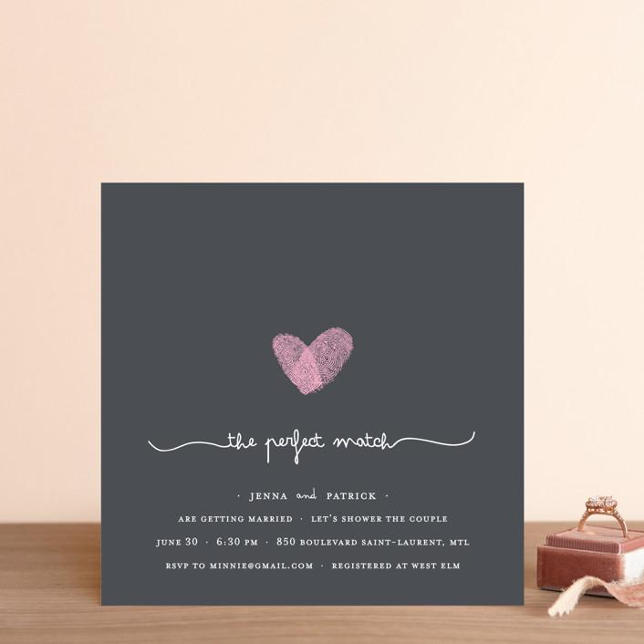 """""""Fingerprint Heart"""" - Modern, Whimsical & Funny Bridal Shower Invitations in Pearl by Angelene."""