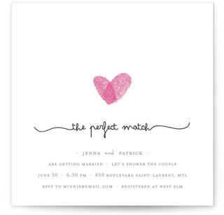 Fingerprint Heart Bridal Shower Invitations