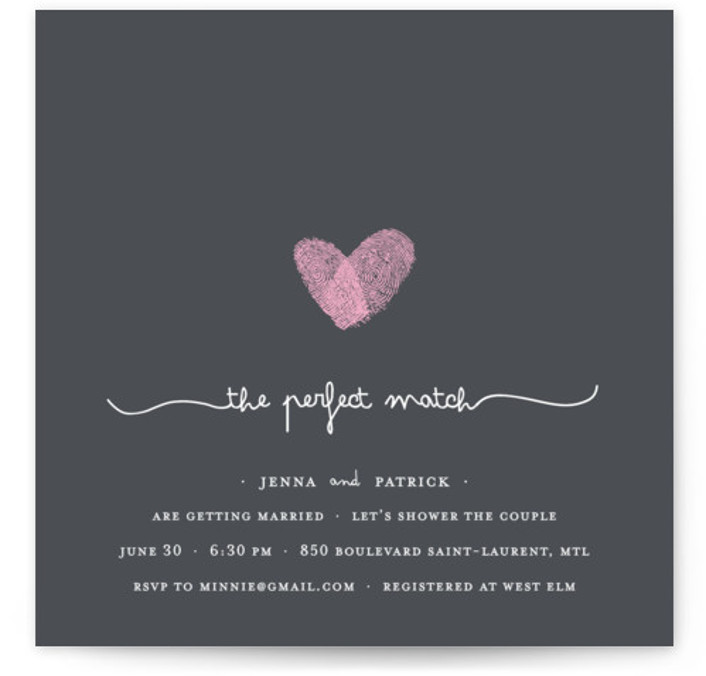 This is a square modern, simple, whimsical, grey, pink Bridal Shower Invitations by Angelene called Fingerprint Heart with Standard printing on Signature in Classic Flat Card format.