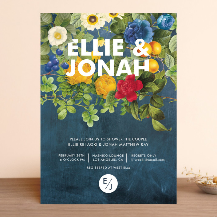 """Flora"" - Rustic, Bold typographic Bridal Shower Invitations in Navy by Susie Allen."