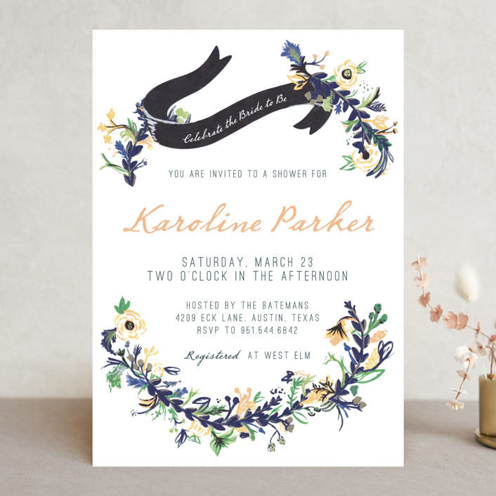 """Floral Hand Painted"" - Floral & Botanical, Vintage Bridal Shower Invitations in Forest Green by Abbey Cleveland."