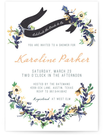 This is a portrait floral, rustic, vintage, orange Bridal Shower Invitations by Abbey Cleveland called Floral Hand Painted with Standard printing on Signature in Classic Flat Card format. Our unique bridal shower designs are fully customizable, sourced from independent designers ...