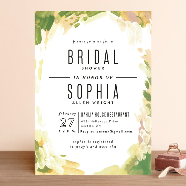 """Gallery Abstract Art"" - Bohemian Bridal Shower Invitations in Lavender by Alethea and Ruth."