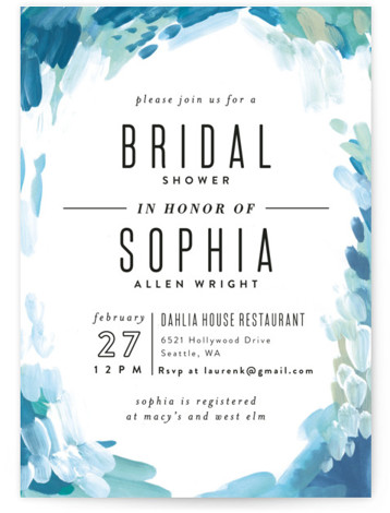 This is a portrait bohemian, painterly, blue Bridal Shower Invitations by Alethea and Ruth called Gallery Abstract Art with Standard printing on Signature in Classic Flat Card format. Our unique bridal shower designs are fully customizable, sourced from independent designers ...