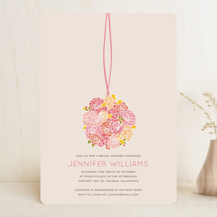 """Kissing Ball"" - Floral & Botanical Bridal Shower Invitations in Creamsicle by Phoebe Wong-Oliveros."
