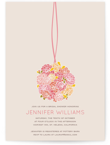 This is a portrait floral, pink Bridal Shower Invitations by Phoebe Wong Oliveros called Kissing Ball with Standard printing on Signature in Classic Flat Card format. Our unique bridal shower designs are fully customizable, sourced from independent designers and printed ...