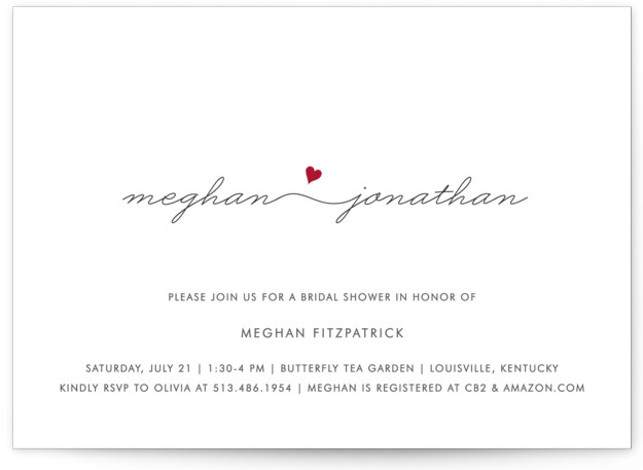This is a landscape simple and minimalist, whimsical, red Bridal Shower Invitations by Kim Dietrich Elam called Love Connection with Standard printing on Signature in Classic Flat Card format.