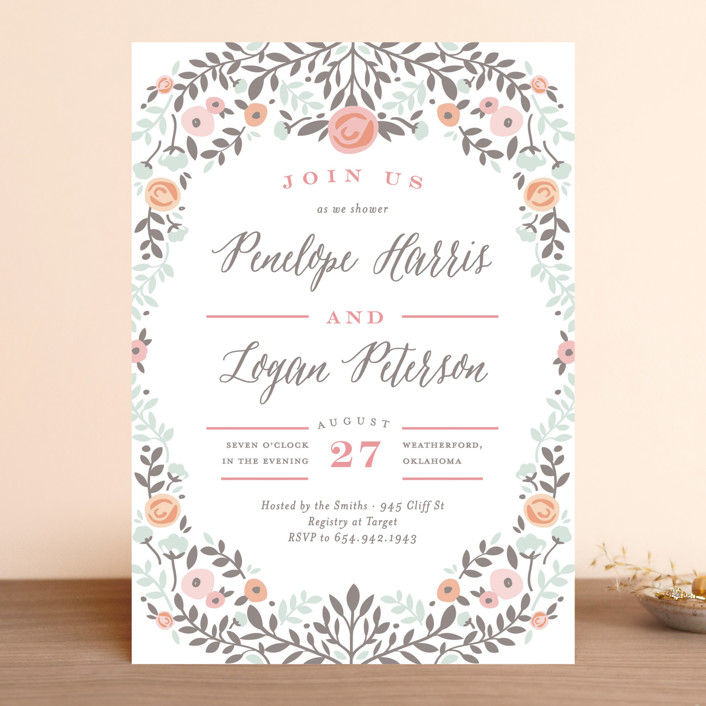"""""""Lover's Floral Frame"""" - Bridal Shower Invitations in Sea by Andrea Snaza."""