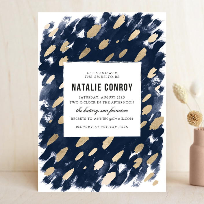 """""""Midnight And Gold"""" - Bohemian Bridal Shower Invitations in Midnight by Papernoten."""
