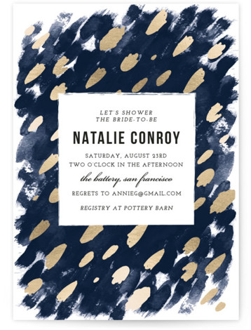 This is a portrait bohemian, painterly, blue, gold Bridal Shower Invitations by Papernoten called Midnight And Gold with Standard printing on Signature in Classic Flat Card format. Our unique bridal shower designs are fully customizable, sourced from independent designers and ...