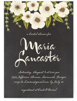 This is a black and white bridal shower invitation by Faiths Designs called Plentiful Blossoms with standard printing on signature in standard.