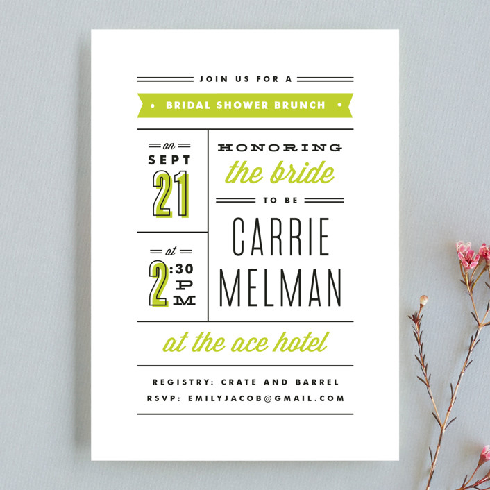 """Posted"" - Modern, Bold typographic Bridal Shower Invitations in Avocado by Kristie Kern."