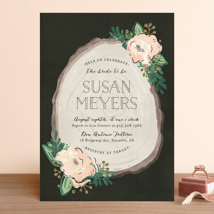"""Rustic Wooded Romance"" - Rustic Bridal Shower Invitations in Blush by Pistols."