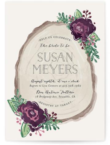 Rustic Wooded Romance Bridal Shower Invitations