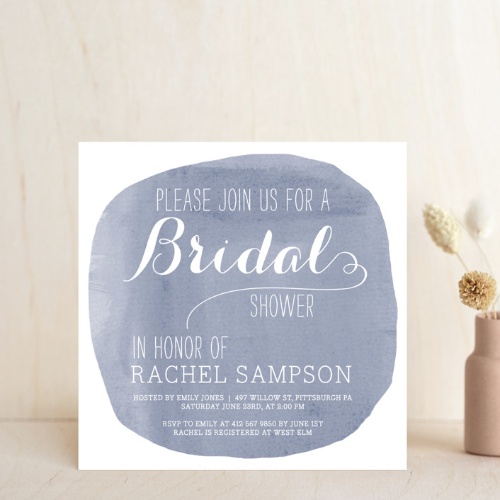 """""""Simply Baby"""" - Modern Bridal Shower Invitations in Lilac by Penelope Poppy."""