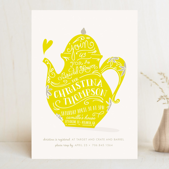 """Tea Time"" - Whimsical & Funny Bridal Shower Invitations in Mint by Lori Wemple."