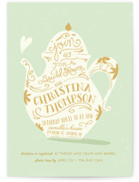 This is a green bridal shower invitation by Lori Wemple called Tea Time with standard printing on signature in standard.