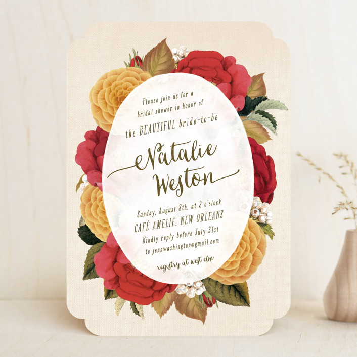 """""""Vintage Botanicals"""" - Bridal Shower Invitations in Soft Peach by Hooray Creative."""