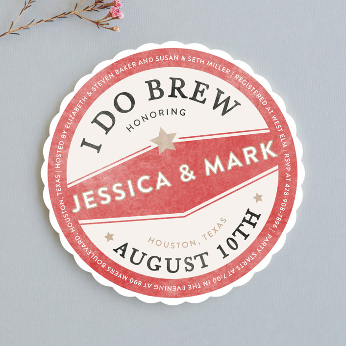"""Vintage Coaster"" - Whimsical & Funny, Bold typographic Bridal Shower Invitations in Crimson by Fig and Cotton."
