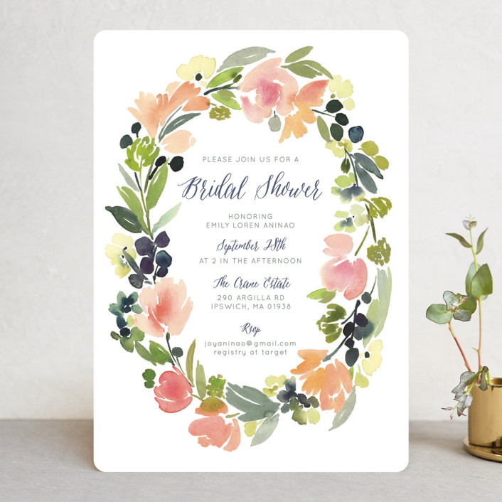 """""""Watercolor Wreath"""" - Bridal Shower Invitations in Grapefruit by Yao Cheng Design."""