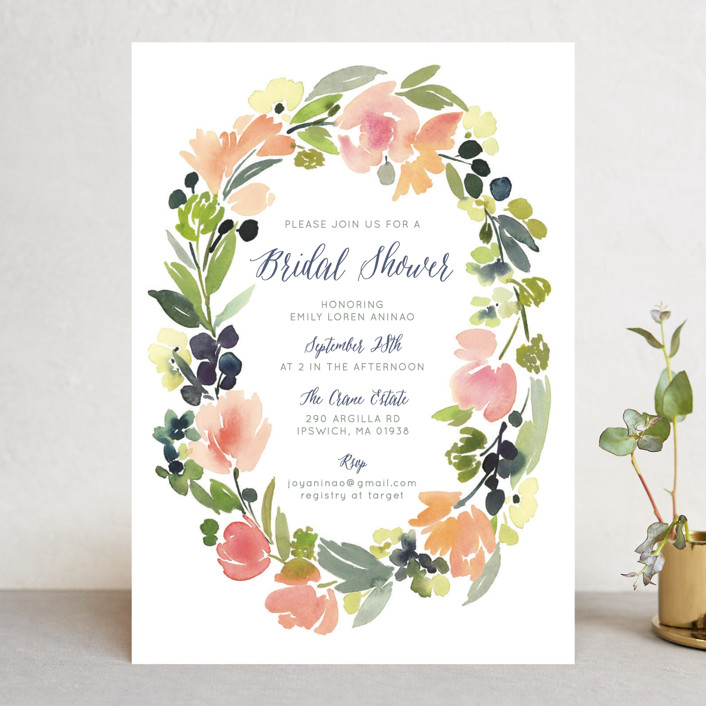 watercolor wreath bridal shower invitations by yao cheng design minted