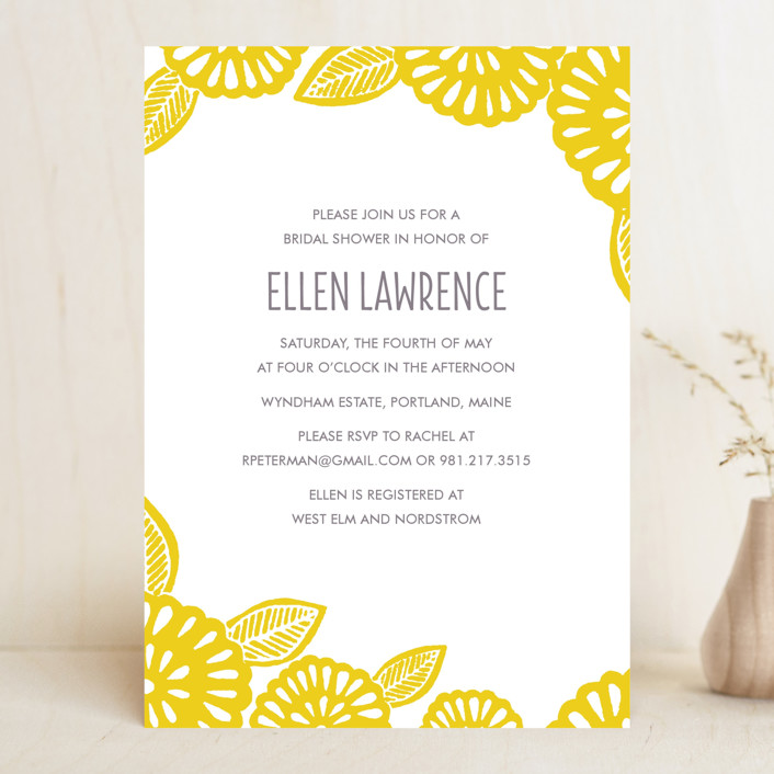 """Bold Block Print"" - Bridal Shower Invitations in Mustard by Katharine Watson."