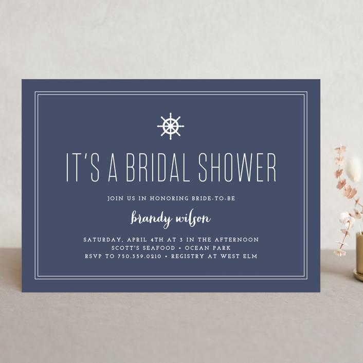 """Down by the Sea"" - Preppy Bridal Shower Invitations in Marine by Sandra Picco Design."