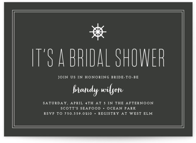 This is a landscape preppy, black and white Bridal Shower Invitations by Sandra Picco Design called Down by the Sea with Standard printing on Signature in Classic Flat Card format. Our unique bridal shower designs are fully customizable, sourced from ...